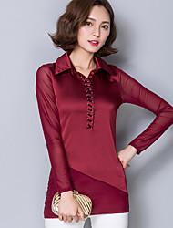 Damen Solide / Patchwork Einfach Ausgehen / Übergröße T-shirt,Hemdkragen Herbst Langarm Blau / Rot / Schwarz / Grau Polyester Mittel