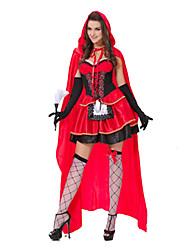 Fantasias Uniformes Dia Das Bruxas Vermelho Patchwork Terylene Vestido / Mais Acessórios