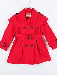 Girl's Casual/Daily Solid Trench CoatCotton Fall Red