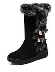 Damen-Stiefel-Kleid-Kunstleder-Flacher Absatz-Modische Stiefel-Schwarz Braun Rot