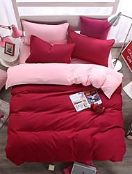bedtoppings couette couverture couette couette 4pcs définir la taille de reine plat drap taie couleur unie microfibre réversible