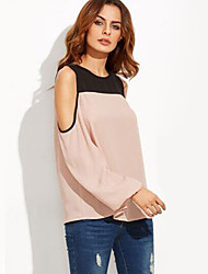 Women's Casual/Daily Street chic Spring / Fall ShirtSolid Off Shoulder Long Sleeve Pink Linen Medium