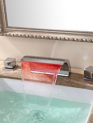 Contemporary Modern Big LED / Waterfall / Widespread with  Ceramic Valve Two Handles Three Holes for  Chrome