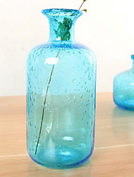 Ocean Blue Hand Blown Bubble Glass Flower Vase Simple Nordic Home Decoration
