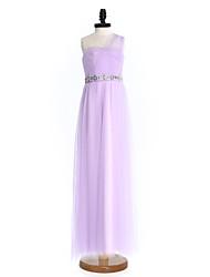 LAN TING BRIDE Floor-length Tulle Junior Bridesmaid Dress Sheath / Column One Shoulder Natural with Beading Sash / Ribbon Criss Cross