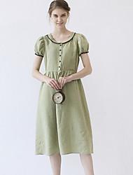 las mujeres idilio isla de salir / casual / diario lindo dresssolid una línea de cuello redondo de manga corta midi ropa de verano verde