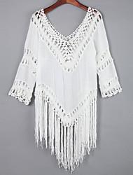 Tee-shirt Aux femmes,Couleur Pleine Décontracté / Quotidien simple Automne Manches Longues Col en V Blanc Coton Moyen