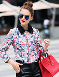 Boutique S Women's Going out Vintage Spring JacketsFloral Shirt Collar Long Sleeve Purple