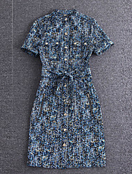 Mujer Vaina Vestido Noche Sofisticado,Estampado Escote Chino Hasta la Rodilla Manga Corta Azul Algodón Verano Tiro Alto Microelástico