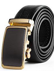 Mens Suits Dress Gold Automatic Belt Buckles Black Leather Waist Belt Strap
