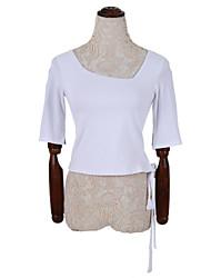 Damen Solide Einfach Lässig/Alltäglich T-shirt,Quadratischer Ausschnitt Herbst ½ Länge Ärmel Weiß / Schwarz / Gelb Baumwolle Mittel