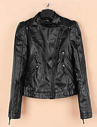 Women's Casual/Daily Simple Fall Leather JacketsSolid Stand Long Sleeve Black Polyester Medium