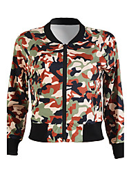 Women's Going out Simple / Street chic All Match Spring / Fall Jackets Camouflage Round Neck Long Sleeve