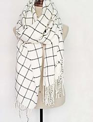 Women Acrylic / Faux Fur ScarfCasual RectangleWhiteCheck