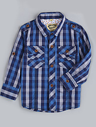 Chemise Boy Pied-de-poule Décontracté / Quotidien Coton Automne Bleu