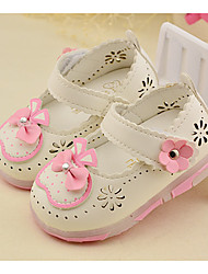 Loafers & Slip-Ons-Lässig-PU-Flacher Absatz-Light Up Schuhe-Weiß Pfirsich