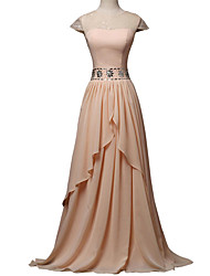 Formal Evening Dress A-line Jewel Floor-length Chiffon / Lace with Appliques / Beading / Lace