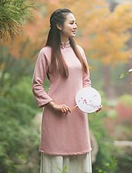Courte Robe Femme Décontracté / Quotidien Vintage,Couleur Pleine Mao Mi-long Manches Longues Rose Autres Automne / Hiver Taille Normale