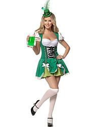 Fantasias Mais Fantasias Dia Das Bruxas / Oktoberfest Verde Patchwork Terylene Vestido