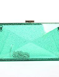 L.west Women Elegant High-grade Transparent Acrylic Flash Powder Evening Bag