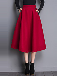Women's Solid Pleated Thick Vintage All Match SkirtsSimple / Street chic Midi