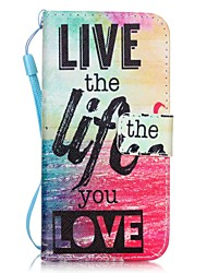 Love Life Pattern Material PU Card Holder Leather for  iPhone 7 7 Plus 6s 6 Plus SE 5s 5 5C 4S
