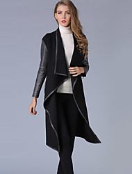 Women's Casual/Daily Simple / Street chic Large Size Handsome Plus Size Trench Coat Patchwork Slim Cowl Long Sleeve