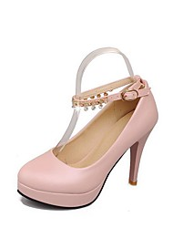 Women's High Heels Soft Material Solid Buckle Round Closed Toe Pumps-Shoes
