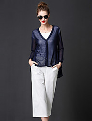 frmz de las mujeres que salen sencilla cardigansolid azul v cuello de lino regulares de la manga larga / rayón caen medio inelástico