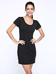 Damen Kleid-Bodycon Sexy / Einfach Solide Knielang Baumwolle Rundhalsausschnitt