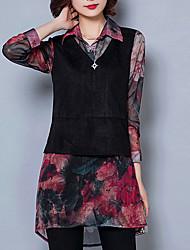 Women's Floral Red / Green Blouse,Shirt Collar Long Sleeve