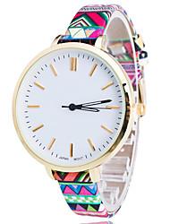 Women/Lady's Flower PU Thin Band Flower White Round Case Analog Quartz Fashion Watch