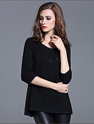 Damen Punkt Einfach Lässig/Alltäglich T-shirt,Rundhalsausschnitt Herbst Langarm Blau / Schwarz Baumwolle Dünn