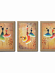 Oil Painting Modern Abstract Ballet Dancer Set of 3 Hand Painted Natural Canvas With Stretched Frame
