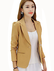 Women's Casual/Daily / Work Simple Slim Large Size Hin Thin Fall Blazer,Solid Peaked Lapel  Long Sleeve