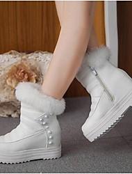 Women's Boots PU Winter Outdoor Rivet Zipper Platform White Black 1in-1 3/4in