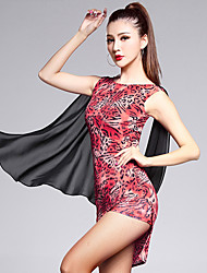 Latin Dance Dresses Women's Training Lycra Pattern/Print / Leopard 1 Piece Red Latin Dance Sleeveless Natural Dress