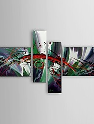 Ready to Hang Stretched Frame Hand-Painted Abstract Oil Painting 4 piece/set Canvas Wall Art Home Office Decor