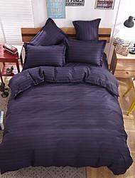 bedtoppings cachecol 4pcs duvet cover quilt definir o tamanho da rainha folha fronha plana listra escura impressões microfibra