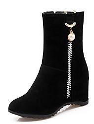 Feminino-Botas-Plataforma Conforto Inovador Botas de Cowboy Botas de Neve Botas Montaria Botas da Moda-Rasteiro Plataforma-Preto-Couro