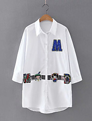 Women's Casual/Daily Simple Spring ShirtEmbroidered Shirt Collar Short Sleeve White Cotton Thin