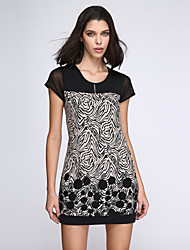 Women's Print Black Dress, Casual Round Neck Mesh Short Sleeve Shift