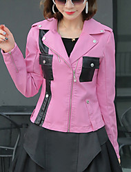 Women's Going out / Casual/Daily Simple Fall Leather JacketsPatchwork Notch Lapel Long Sleeve Pink PU Medium