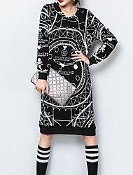 Women's Casual/Daily Sophisticated Loose DressPrint Hooded Knee-length Long Sleeve Black Cotton