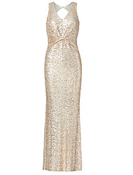 Formal Evening Dress Trumpet / Mermaid V-neck Floor-length Sequined with Sequins / Side Draping