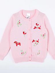Pull & Cardigan Fille de Imprimé Décontracté / Quotidien Coton Automne Rose