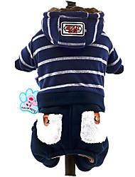 Dog Hoodie Clothes/Jumpsuit Dog Clothes Winter Spring/Fall Stripe Cute Fashion Dark Blue Gray