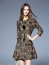 Boutique S Women's Going out Vintage Sheath DressPaisley Round Neck Above Knee  Sleeve Multi-color Cotton / Polyester