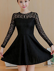 Women's Casual/Daily Cute Sheath DressSolid Round Neck Above Knee  Length Sleeve White / Black Polyester