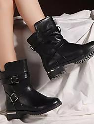 Damen-Stiefel-Lässig-PU-Blockabsatz-Komfort-Schwarz / Braun